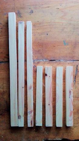 Abbildung 3 - Erntekorb - Kanthölzer für Korbseiten und Griff